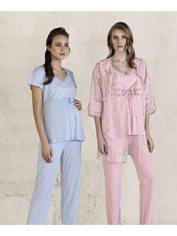 Lezli Lohusa Sabahlık Pijama Takım Artış 3409
