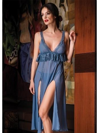 Mavi Şifon Uzun Gecelik Bondy 3383