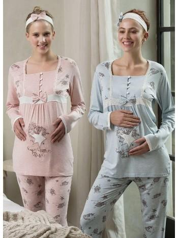 Melanj Lohusa 2 Li Pijama Takım (Saç Bandı Hediyeli) Feyza 3152