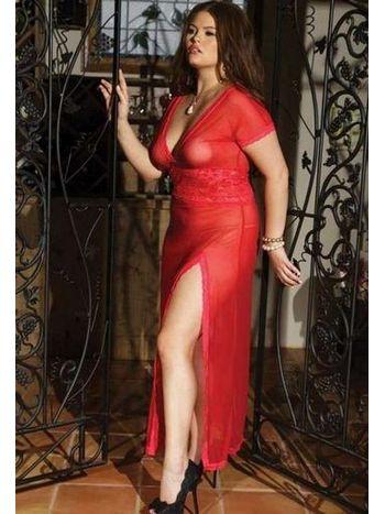 Merry See Büyük Beden Kırmızı Uzun Gecelik