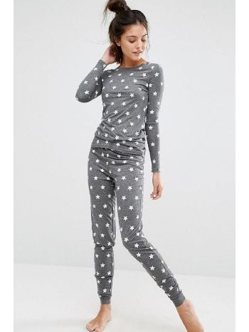 Merry See 3098 Gri Yıldız Desenli Şık Pijama Takımı