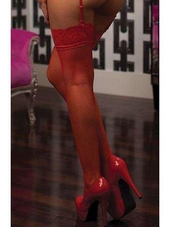 Kırmızı File Jartiyer Çorap Silikonlu Dantelli Merry See