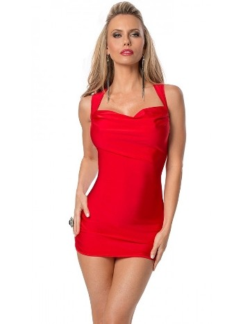 Merry See Kırmızı Sırt Dekolteli Süper Mini Elbise