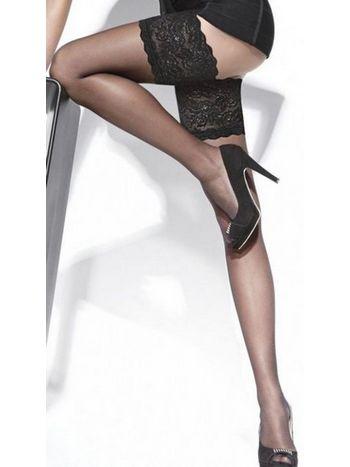 Siyah Jartiyer Çorap Düz Silikonlu Dantelli Merry See