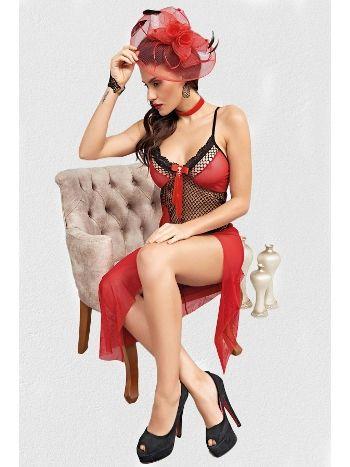 Mite Love Fileli Uzun Kırmızı Kadın Fantazi Gecelik