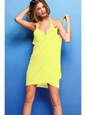Mite Love Kadın Plaj Elbisesi Sarı Kısa Pareo