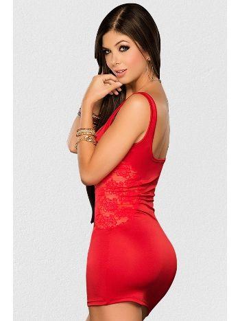 Mite Love Mikro Dantelli Fantazi Elbise Kırmızı