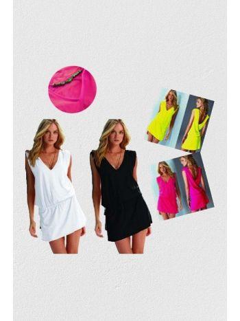 Mite Love Seksi Yazlık Plaj Elbise Likralı Beyaz