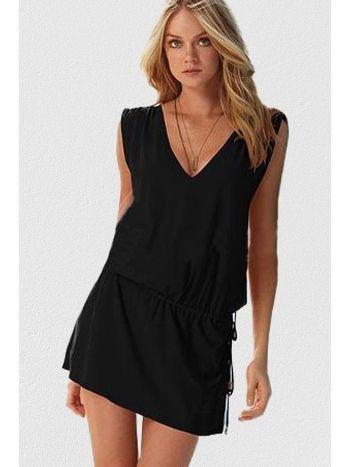 Mite Love Seksi Yazlık Plaj Elbise Likralı Siyah