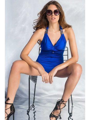 Mite Love Şık Aksesuarlı Mavi Mayo Perla