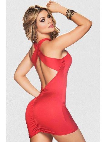 Mite Love Sırt Dekolteli Mini Kırmızı Elbise