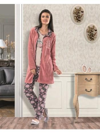 NBB Bayan Uzun Kollu Çiçek Desenli Pijama Sabahlık Takım 6960
