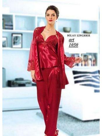 Nilay 1050 Saten Üçlü Pijama Takım
