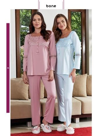 Omuz Dantel Pijama Takım Bone Club 4636