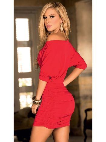 RedHotBest Yarasa Kol Büzgülü Mini Fantezi Elbise
