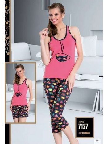 Renkli 3 Lü Set Pijama Takımı Lady 7127