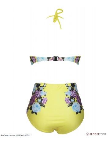 Renkli Özel Tasarım Yüksek Bel Bikini