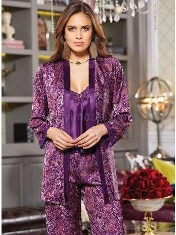 Saten Desenli Üçlü Pijama Takım Jeremi 2857