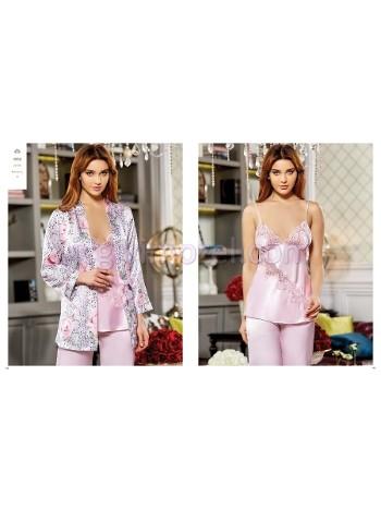 Saten Desenli Üçlü Pijama Takım Jeremi 2858