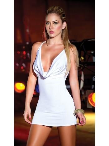 Sırtı Metal Aksesuarlı Beyaz Mini Elbise MerrySee