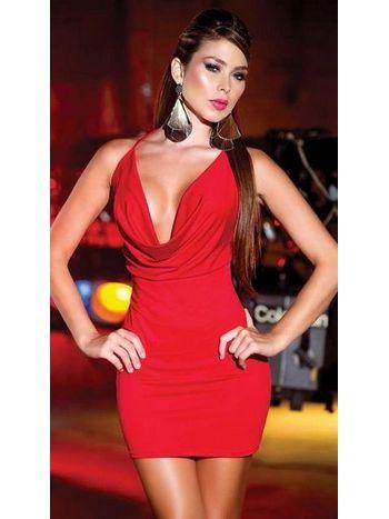 Sırtı Metal Aksesuarlı Kırmızı Mini Elbise
