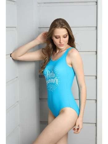 Spenza Swimwear Açık Mavi Hello Summer Mottolu Mayo