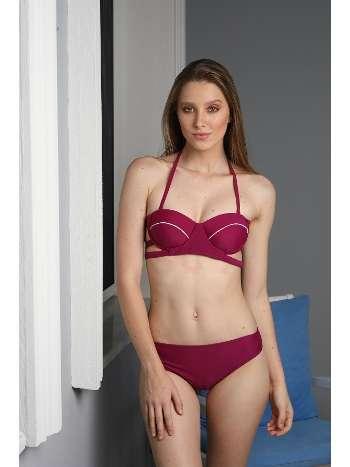 Spenza Swimwear Bordo Biye Detaylı Bikini Takımı