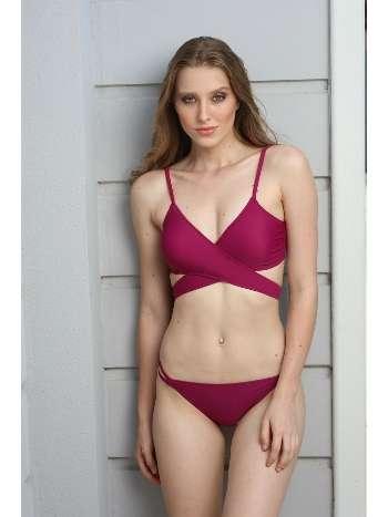 Spenza Swimwear Çapraz Uzun Bağlı Bordo Bikini Takımı