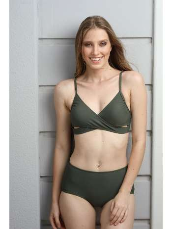 Spenza Swimwear Haki Çapraz Detaylı Yüksek Bel Bikini Takımı