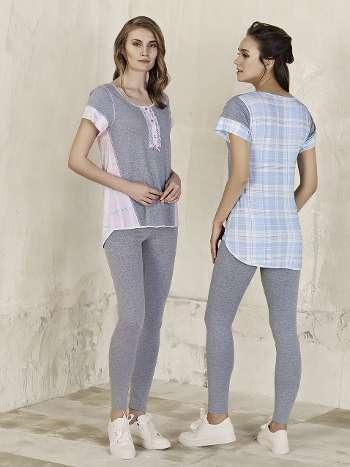 Taytlı Ekose Tunık Pijama Takım Artış 3216