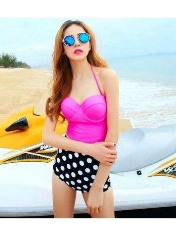 Üstü Pembe Yüksek Bel Şık Bikini