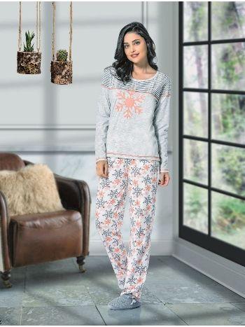 Uzun Kol Islemelı Bayan Pijama Takım NBB 66366