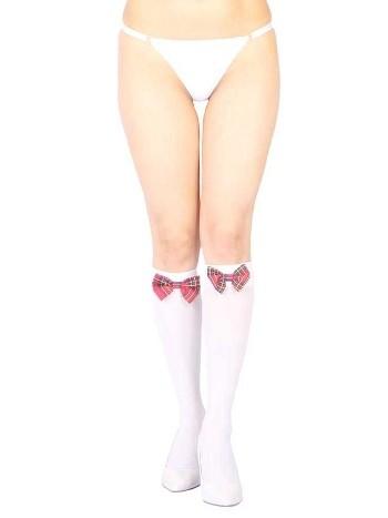 Vixson Beyaz Diz Altı Kırmızı Ekose Kurdeleli Çorap Ve G String Seti