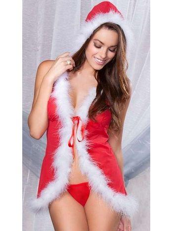 Vixson Fantezi Kırmızı Yılbaşı Gecelik Noel Anne Kostümü