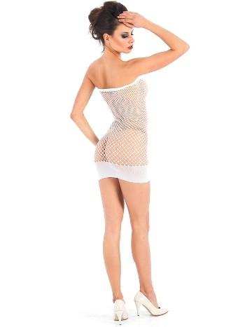 Vixson Geniş Fileli Seksi Beyaz Elbise