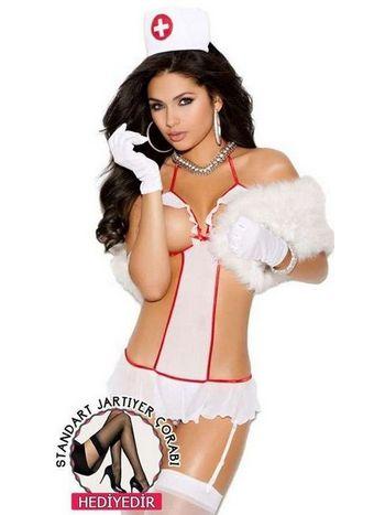 Vixson Göğüs Bölgesi Açık Hemşire Kostümü