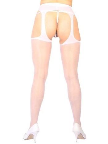 Vixson Özel Ve Yan Bölgeleri Açık Transparan Beyaz Fantazi Külotlu Çorap