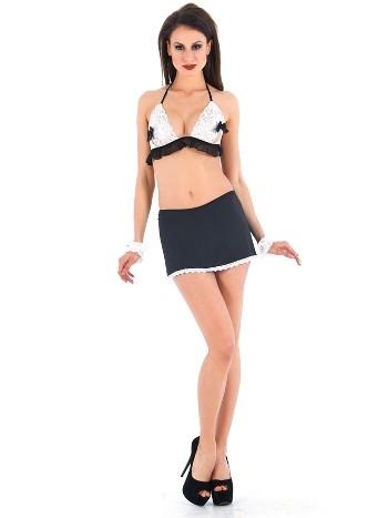 Vixson Siyah Beyaz Seksi Fransız Hizmetçi Kostümü