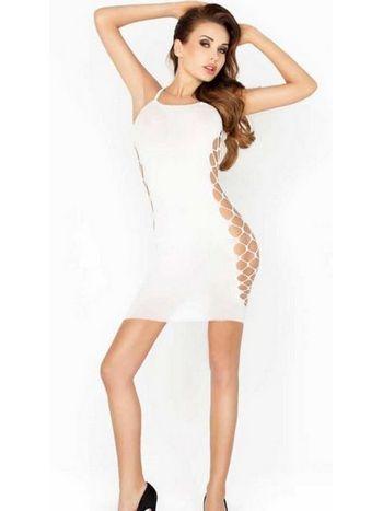 Vixson Yan Bölgesi Fileli Beyaz Sexi Kıyafet