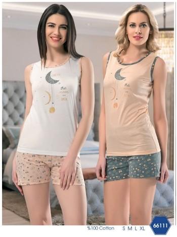 Yıldız Ve Hilal Askılı Şortlu Pijama Takımı NBB 66111