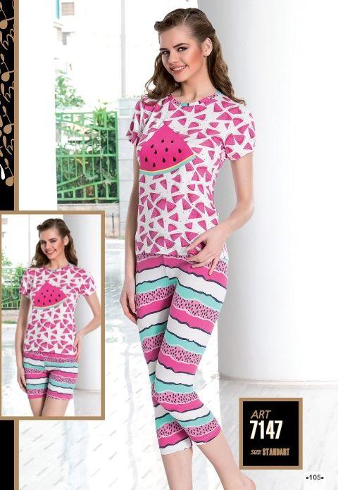 3 Lü Set Meyve Desenli Pijama Takımı Lady 7147