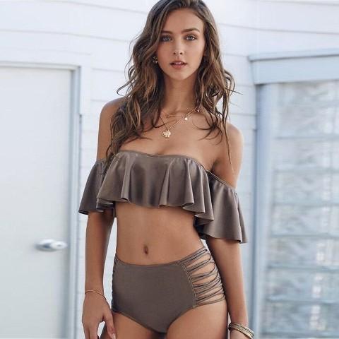 Angelsin Kahverengi Çok Şık Bikini takım