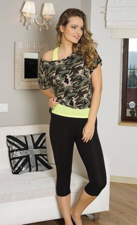 Tayt Pijama Takımları Bayan Atlet T-Shirt Tayt Takım Anıl 9320