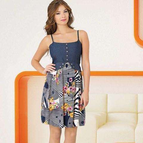Anıl Kot Baskılı İp Askılı Elbise Görünümlü Gecelik 5257