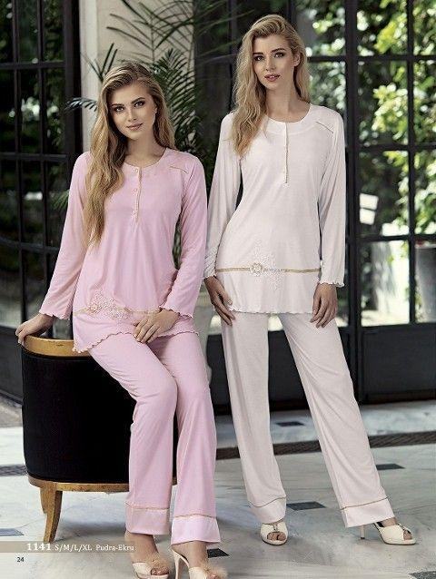 Artış 1141 Gül Süslemeli Pijama Takımı