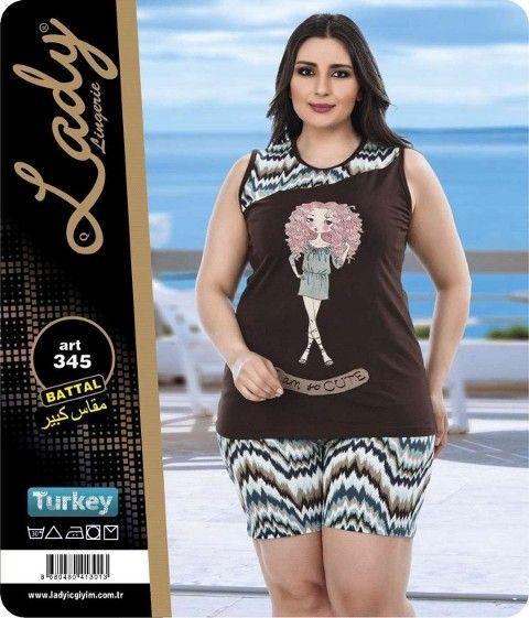 Battal Bayan Şortlu Pijama Lady 345