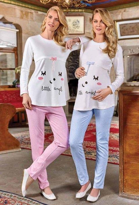 Bayan Lohusa Pijama Takımı Uzun Kollu Berrak 394