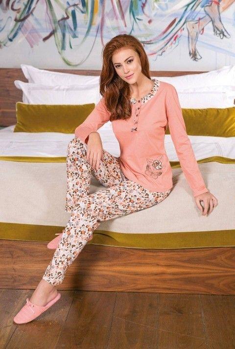 Bayan Pijama Takımı 2 Li Yakası Desenli Yeni İnci BPJ1198