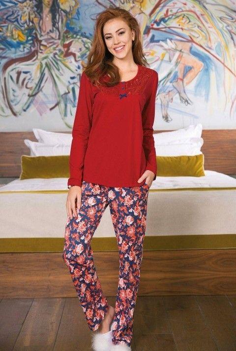 Bayan Pijama Takımı 2 Li Kırmızı Yeni İnci BPJ1190