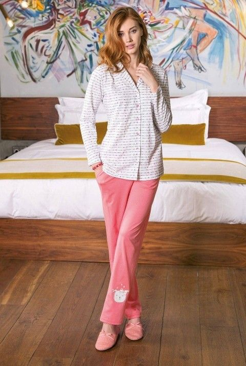 Bayan Pijama Takımı 2 Li Süprem Düğmeli Yeni İnci BPJ1172